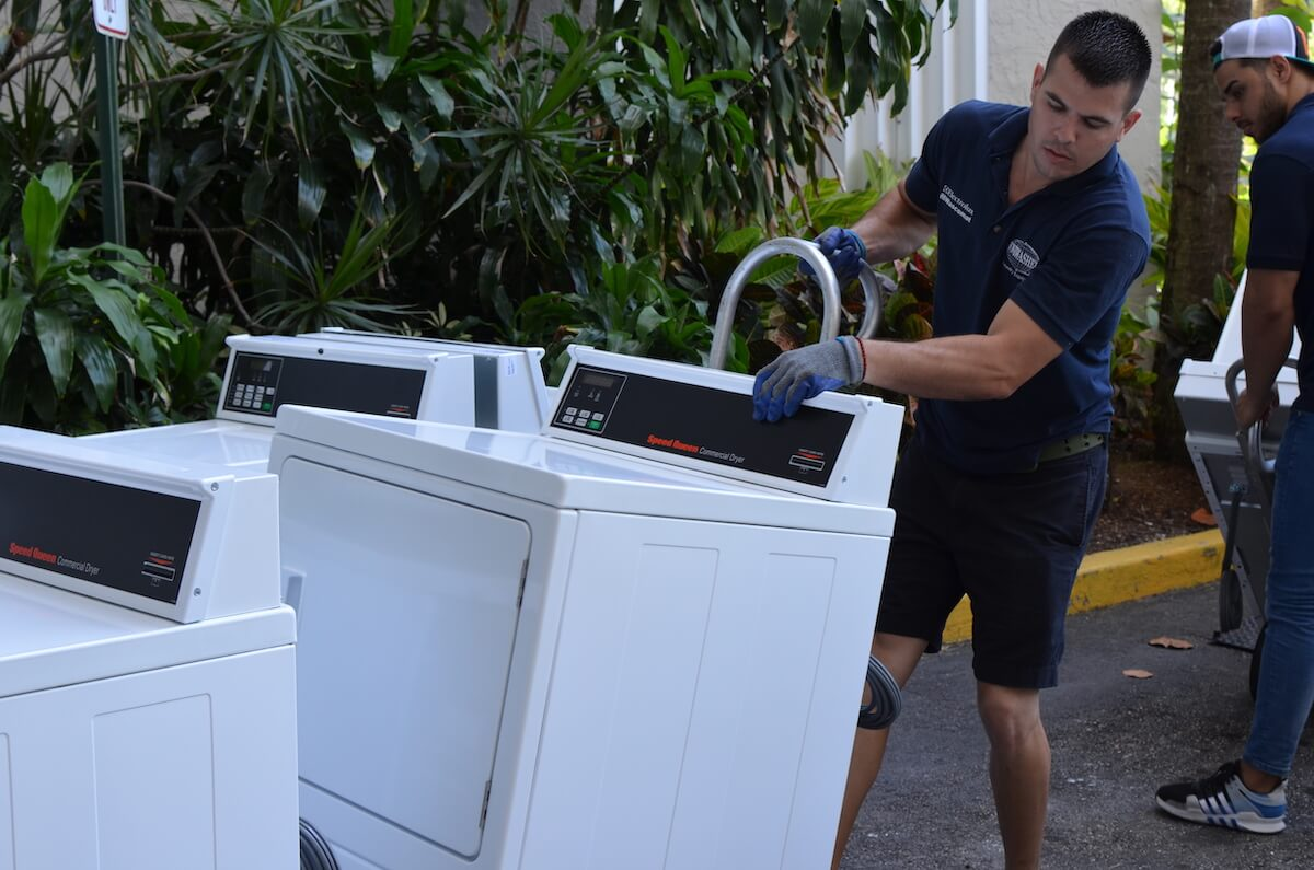 Delivery and installation service by Uniwasher, Miami's #1 commercial laundry distributor, providing the best commercial laundry equipment, including washing machines, dryers, and dry cleaning equipment. We proudly serve laundry businesses throughout South Florida. Uniwasher can outfit your Florida laundromat business with the best coin laundry machines, laundromat supplies, and chemicals. We also provide on-premises laundry solutions for commercial laundries, hotels, hospitals, restaurants, and more. We distribute Electrolux, Wascomat, and Crossover commercial laundry equipment in South Florida and Speed Queen, UniMac, Primus, ADC, and IPSO throughout The Caribbean, Costa, Rica, and El Salvador. Contact us today! Your satisfaction is our guarantee.